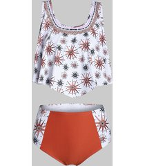 star print point hem high waisted tankini swimwear