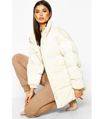 pearlescent belted puffer jacket, ivory