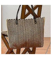 leather accented wool shoulder bag, 'autumn patterns' (mexico)