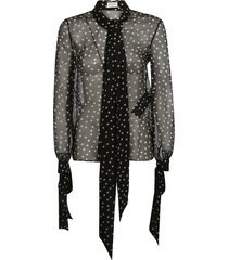 saint laurent dotted print scarf & bow detail see-through blouse