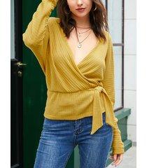 yoins suéter de manga larga con cuello en v amarillo sin respaldo diseño