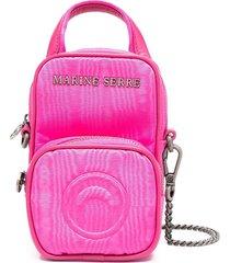 marine serre logo plaque mini backpack purse - pink