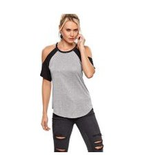 blusa modisch viscose t-shirt manga raglã feminina