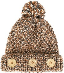 0711 pompom knit beanie - brown