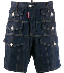dsquared2 multiple pocket denim shorts - blue