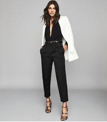reiss rosalba - long sleeved plunge bodysuit in black, womens, size xl