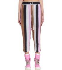 rick owens drawstring crop pants in rose-pink viscose