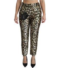 leopard lovertjes hoge taille broek