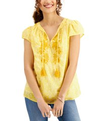 style & co plus size tassel peasant top, created for macy's