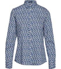d1. autumn print stretch bc shirt långärmad skjorta blå gant