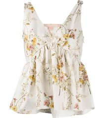 brock collection floral-print ruffled vest - neutrals