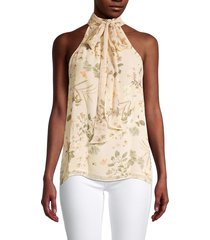 calvin klein women's tropical-print sleeveless blouse - wheat multicolor - size m