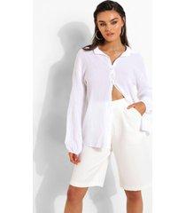 blouse met textuur en open rug, ivory