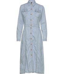 r/denim - mati jurk knielengte blauw sand