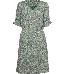 fralcrinkle 5 dress knälång klänning grön fransa