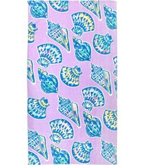 martha stewart collection striae shells velour beach towel, created for macy's bedding