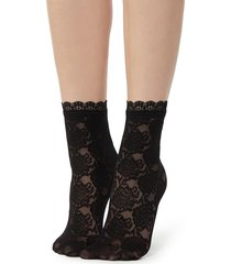 calzedonia - fancy floral-patterned socks with lace detail, one size, black, women