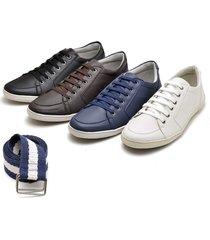 kit 4 pares sapatenis tãªnis casual + cinto jna shoes atã© o 48 - preto - masculino - dafiti