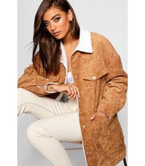 borg lined oversized cord trucker jacket, camel