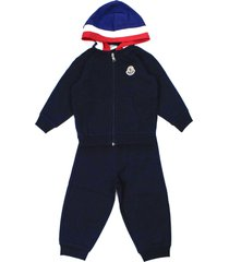 moncler navy blue and red cotton tracksuit set