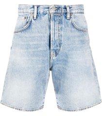 acne studios flared denim shorts - blue