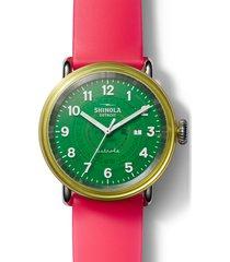 shinola detrola the gummy worm silicone strap watch, 43mm