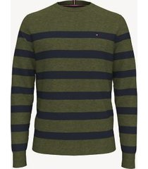 tommy hilfiger men's essential breton stripe sweater olive heather - xxl