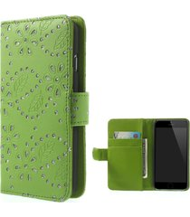 for iphone 6s / 6 4.7 inch maple leaf flower pu leather card holder stand shell