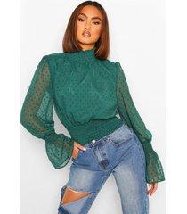 geweven geplooide dobby blouse met hoge hals, bottle green