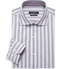 bugatchi men's regular-fit striped dress shirt - white - size 16.5