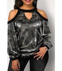 brilho diseño blusa de manga larga con hombros descubiertos
