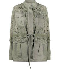 twin-set jaqueta com recorte de renda - verde