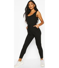 soft ribbed slouch cami jumpsuit, black