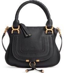 chloe small marcie leather satchel - black