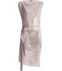 paco rabanne x the webster ruched chain-link dress pink