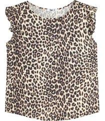 blusa manga corta con estampado animal print color beige, talla s