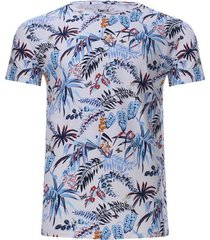 camiseta estampada hojas de colores color blanco, talla s