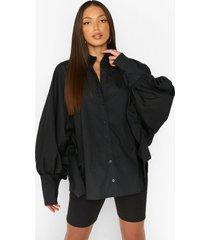 tall oversized blouse met vleermuismouwen en ballonmouwen, black