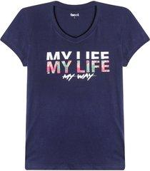 camiseta mujer my life color azul,talla l