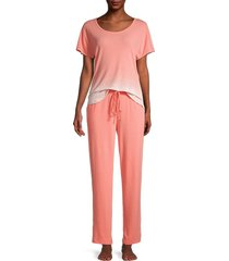 natori women's 2-piece ombre pajama set - blue - size s