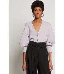 proenza schouler cashmere draped puff sleeve cardigan lilac/purple s