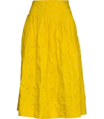 embroided midi skirt in poplin knälång kjol gul gap