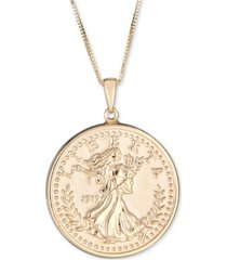 """coin double-sided 18"""" pendant necklace in 10k gold"""