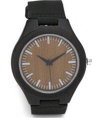 reloj ajustable madera cuero negro millam