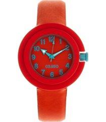 crayo unisex equinox red, cerulean leatherette strap watch 40mm