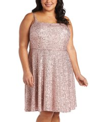 morgan & company trendy plus size sequinned skater dress