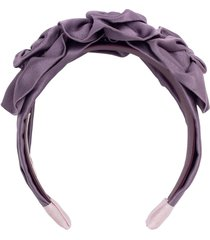triple rosette duchess satin headband