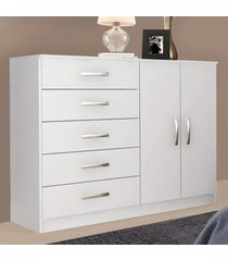 cômoda 2 portas 5 gavetas noruega 29100 branco - pnr móveis