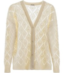 miu miu oversized cardigan with pearls