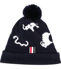 thom browne animal intarsia merino wool hat - blue